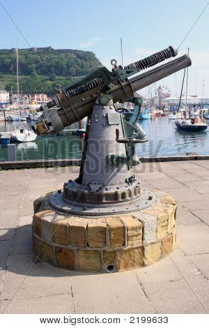 Submarine Gun Statue In Scarborough In The Uk