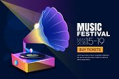 Vector Music Jazz Festival, Glowing Neon Poster Or Banner Background. Colorful 3D Style Musical Viny poster