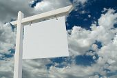stock photo of clouds sky  - Blank Real Estate Sign on Clouds  - JPG