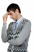 image of thinkers pose  - man in the pose of a thinker on a white background - JPG
