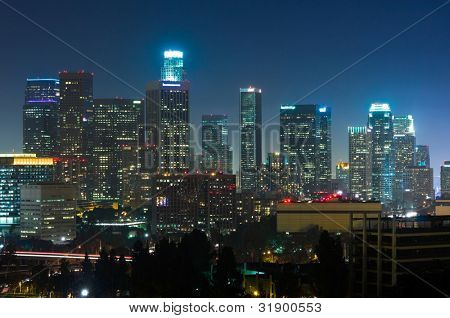 Los Angeles skyscrapers at night