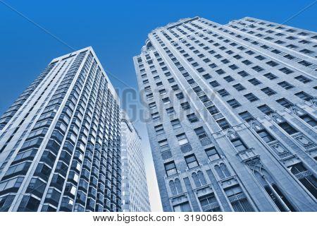 City Skyscrapers In Blue Duotone