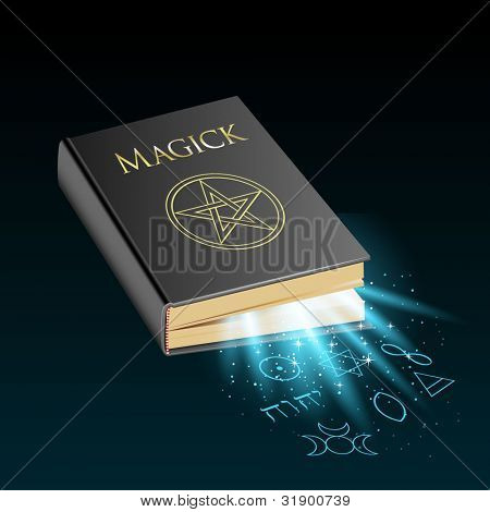 Book of magic with mystical light and symbols