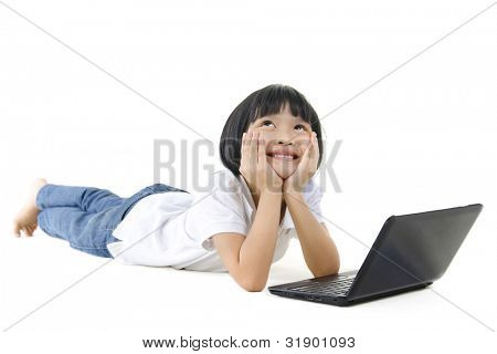 Pan Asian school girl using laptop and looking up