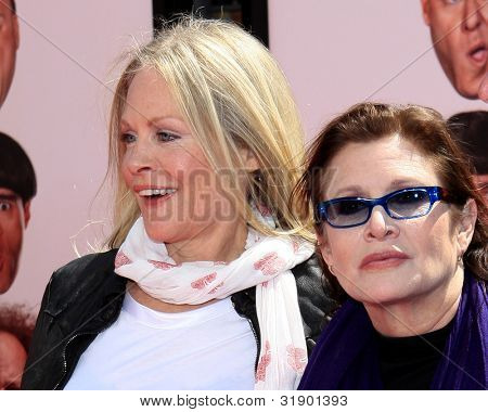 "LOS ANGELES - APRIL 7: Beverly D'Angelo, Carrie Fisher arrives at ""The Three Stooges"" Premiere at Graumans Chinese Theater on April 7, 2012 in Los Angeles, CA"