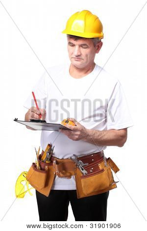 builder with belt construction writing on document isolated on white