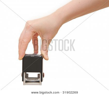 Hand with stamp for documents on white background