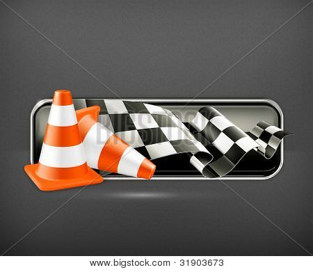 Racing banner with traffic cones, vector