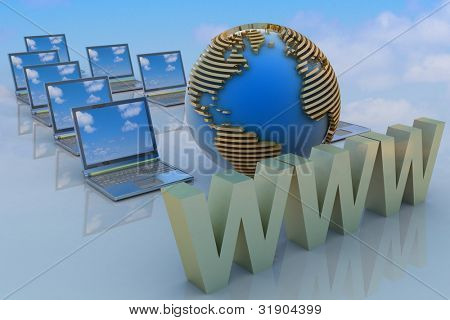 Internet concept. 3d rendered illustration.