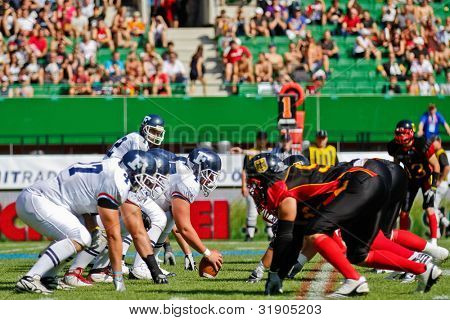VIENNA, AUSTRIA - JULY 16 Teams France and Germany at the line of scrimmage at the Football World Championship on July 16, 2011 in Vienna, Austria.