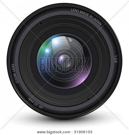 Lente de cámara foto, Ilustración del vector.