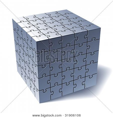 Jigsaw puzzle cube. All Parts Together. Vector illustration