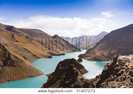 Mountain and lake, Tibet