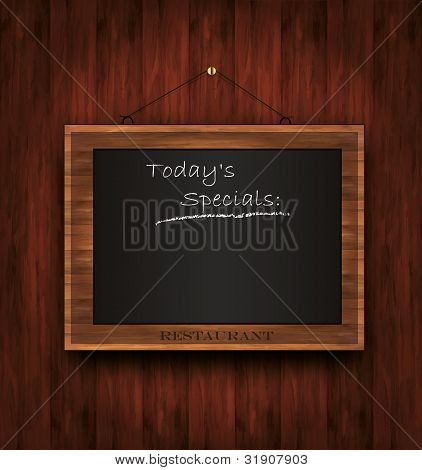 vector blackboard wooden menu Todays special restaurant
