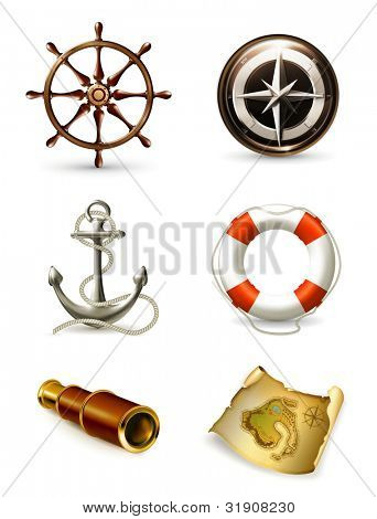 Marine set high quality icons, bitmap copy
