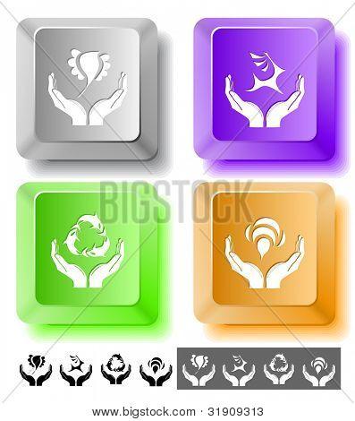 Animal icon set. Protection nature, deer in hands, bird in hands, bee in hands.  Computer keys. Vector illustration.