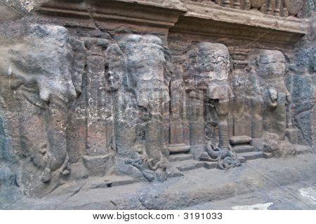 Elephant Statues On Ancient Hindu Temple