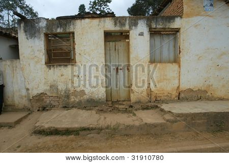 NOVO CRUZEIRO, BRAZIL - JULY 27: An exterior of a simple home is shown July 27, 2005 in Novo Cruzeiro, Brazil. Over 10,000 residents still engage in agriculture, which is mainly subsistence.