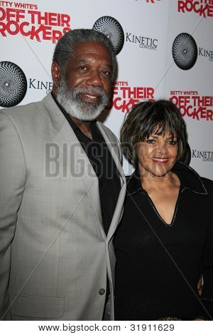 SANTA MONICA, CA - APR 10: Lou Beatty Jr, wife Giselle at the Kinetic Content's Celebration of Betty White's 'Off Their Rockers' at the Viceroy Hotel on April 10, 2012 in Santa Monica, California