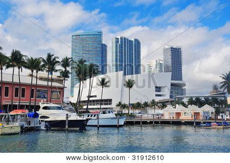 MIAMI, FL - FEB 7: Bayside Marketplace in day on February 7, 2012 in Miami, Florida. It is a festival marketplace and the top entertainment complex in Downtown Miami attracting 15M people annually.