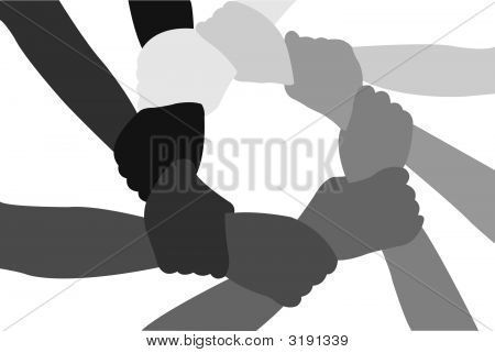 Eight Friends Have Crossed Hands Vector