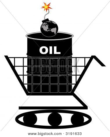 Shopping Cart Tank Oil Barrel Earth Bomb