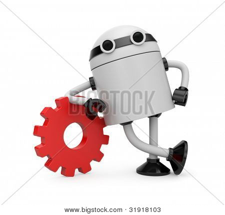 Robot leaning on a gear. Image contain clipping path