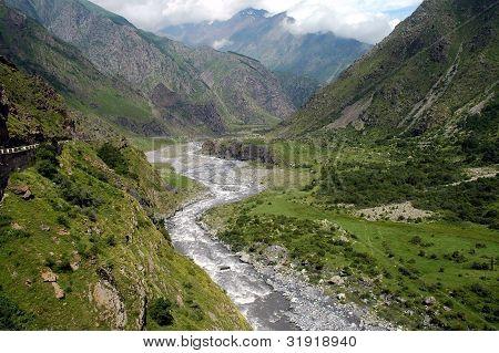 Georgian Military Highway, Caucasus mountains, between Georgia and Russia