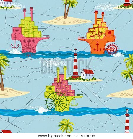 Travel seamless pattern with passenger ships, islands with palm trees and lighthouse in a retro style