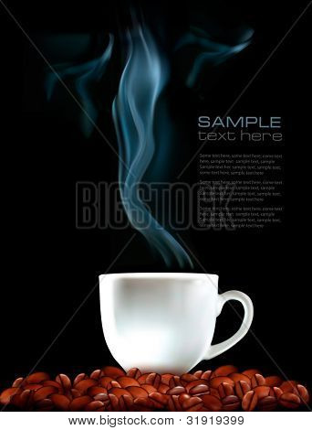 Background with cup of coffee and coffee grains. Vector illustration
