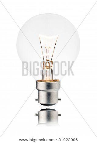 Lightbulb On - Golf Ball Shaped, Reflection, Isolated