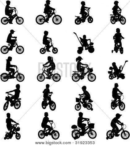 children riding bicycles