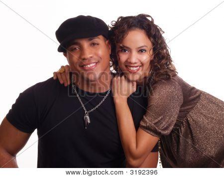 Young Black Man And Hispanic Woman Couple