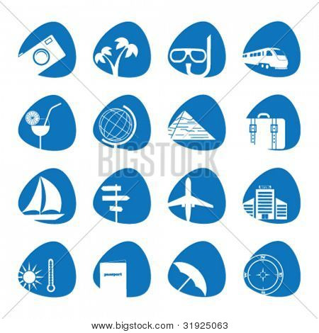 Vector illustration of icons on the topic of tourism
