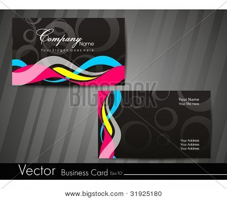 Professional business card set, template or visiting card. Artistic, abstract corporate look in dark and bright colors waves design, EPS 10 Vector illustration.