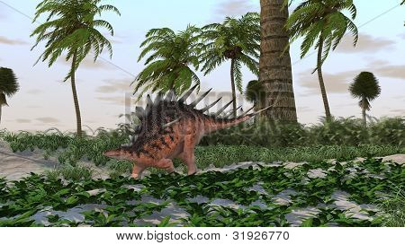 kentrosaurus in jungle