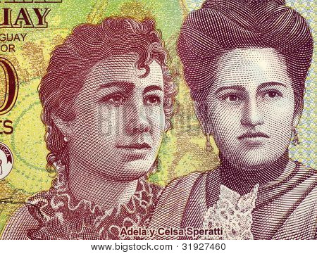 PARAGUAY - CIRCA 2000: Adela and Celsa Speratti on 2000 Guaranies 2009 Banknote from Paraguay. Paraguayan sisters and 19th century educators.
