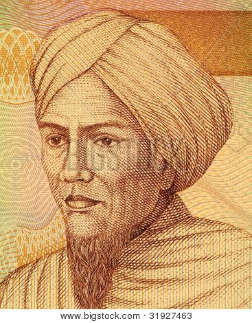INDONESIA - CIRCA 2008: Tuanku Imam Bonjol (1772-1864) on 5000 Rupiah 2008 Banknote from Indonesia. Hero in the Indonesian struggle against Dutch rule.
