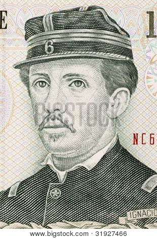 CHILE - CIRCA 2007: Ignacio Carrera Pinto (1848-1882) on 1000 Pesos 2007 Banknote from Chile. Chilean hero of the War of the Pacific.