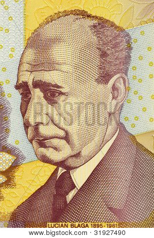 ROMANIA - CIRCA 1998: Lucian Blaga (1895-1961) on 5000 Lei 1998 Banknote from Romania. Romanian philosopher, poet and playwright.