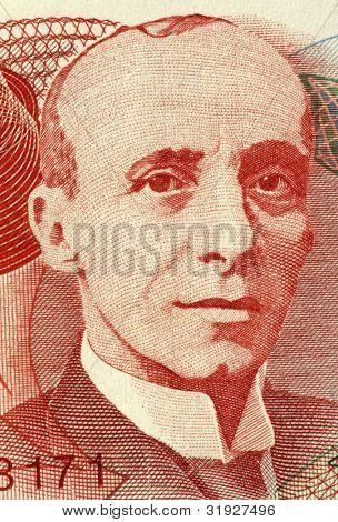 COSTA RICA - CIRCA 2004: Tomas Soley Guell (1875-1943) on 1000 Colones 2004 Banknote from Costa Rica. Costa Rican economist and historian.