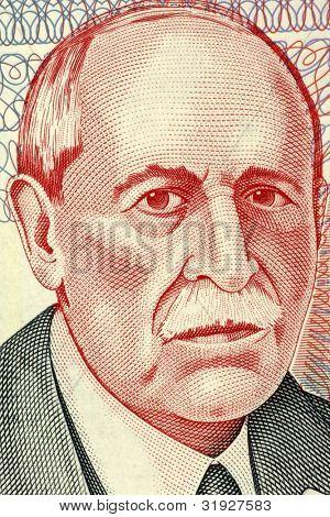 URUGUAY - CIRCA 1998: Eduardo Acevedo Vasquez (1857-1848) on 10 Pesos Uruguayos 1998 Banknote from Uruguay. Uruguayan  lawyer, historian and politician.
