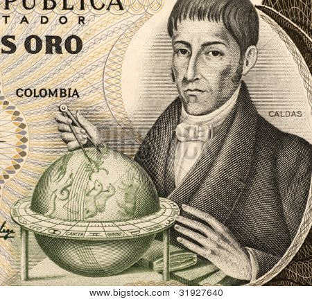 COLOMBIA  - CIRCA 1983: Francisco Jose de Caldas (1768-1816) on 20 Pesos Oro 1983 Banknote from Colombia. Colombian lawyer, naturalist and geographer.