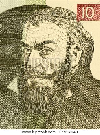 SLOVENIA - CIRCA 1992: Primoz Trubar (1508-1586) on 10 Tolarjev 1992 Banknote from Slovenia.