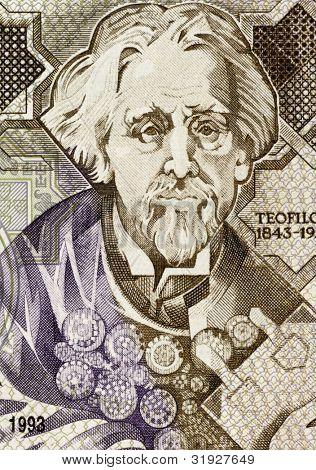 PORTUGAL - CIRCA 1993: Teofilo Braga (1843-1924) on 1000 Escudos 1993 Banknote from Portugal. Portuguese writer, playwright and politician.