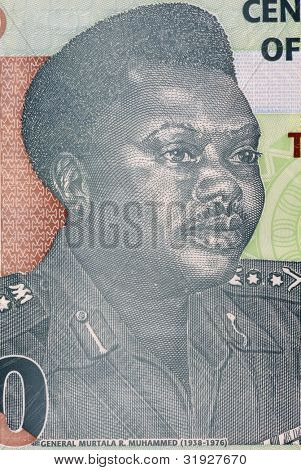 NIGERIA - CIRCA 2009: Murtala Mohammed (1938-1976) on 20 Naira 2009 Banknote from Nigeria. Military ruler of Nigeria during 1975-1976.