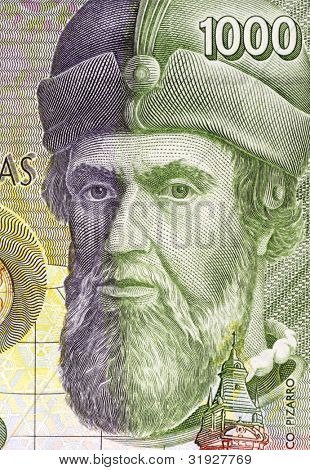 SPAIN - CIRCA 1992: Francisco Pizarro (1471/1476-1541) on 1000 Pesetas 1992 Banknote From Spain. Spanish Conquistador.