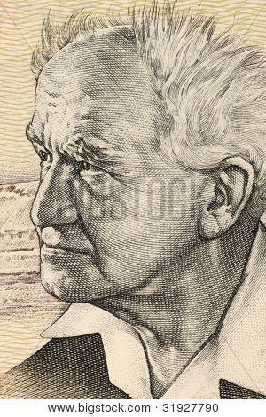 ISRAEL - CIRCA 1978: David Ben Gurion (1886-1973) on 50 Sheqalim 1978 Banknote from Israel. Founder and first Prime Minister of Israel.