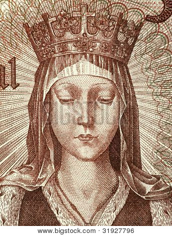 PORTUGAL - CIRCA 1964: Elizabeth of Aragon (1271-1336) on 50 Escudos 1964 Banknote from Portugal. Queen consort of Portugal.