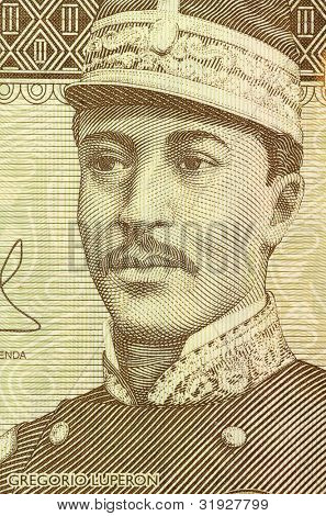 DOMINICAN REPUBLIC - CIRCA 2009: Gregorio Luperon (1839-1897) on 20 Pesos Oro 2009 Banknote from Dominican Republic. Dominican military and state leader after the Spanish annexation in 1863.